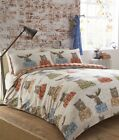 Animal Bear Moose Brown Orange Check Reversible Duvet Cover Quilt Bedding Set