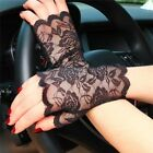 Gothic/ Steampunk Ladies Mesh Stretchy Short Floral LACE GLOVES Black White Red