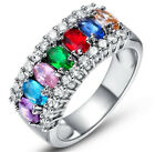 Women Multi-Color Gemstone Crystal Silver Wedding Ring Jewelry Size 6 7 8 9 hot image