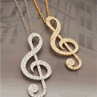 TREBLE CLEF NECKLACE ♫ Crystal Music Note Gold Silver Long Necklace Gift