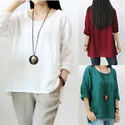 Women Girl Retro Long Sleeve Loose Crewneck Pullover Shirt Blouse Plus Size Tops