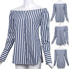 CLEARANCE!! Sexy Women's Striped Long Sleeve Off Shoulder Side Split Shirt Tops