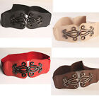 Fashion Leather Belt Alloy Buckle Elastic Wide Waistband Stretchy Waist Strap