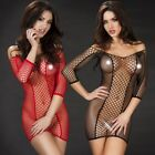 Sexy Plus Size Lingerie One Size Mini Dress Red Black Stretch Fishnet Bodycon