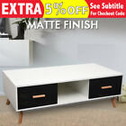 1.2M Large Scandinavian Retro Coffee Table Cabinet 2 Drawer Matt Black & White