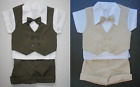 2 BABY BOY Shorts OUTFITS 1 Brown & 1 Beige Formal Special Occasion Suit Clothes