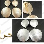 """CLIP ON 2.5""""BIG curved metal round EARRINGS chunky retro clips VINTAGE 70s STYLE"""