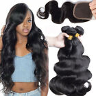 3 Bundles Straight Wavy with Lace closure Brazilian Human Hair Weave US Ship MY