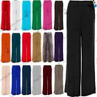 Ladies Womens Wide Palazzo Leg Flared Plain Trousers Legging Pant Plus Size 8-26