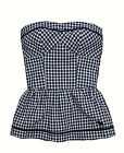 Abercrombie & Fitch Womens Strapless Tube Top Shirt, Navy Blue Check, XS Small