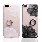 Emboss Lace Flower Case With Ring Holder for iPhone 6s 7 8p X Samsung S7 S8 Fad
