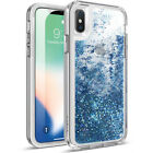 Poetic iPhone X Rugged Case [Cascade] Shockproof Liquid Glitter TPU Cover Teal