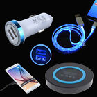 QI Wireless Pad+Car Charger+LED Type C Cable for Samsung Galaxy Note 8 S9 S8+ S7