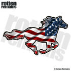 American Horse Decal USA US Flag Pony Mustang Gloss Sticker (RH) HGV