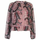 Glamorous Womens Chiffon Long Sleeve Shirt Round Neck Lightweight Floral