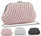 WOMENS PEARL BEADED DIAMANTE LADIES EVENING PARTY BRIDAL CLUTCH COIN PURSE BAG