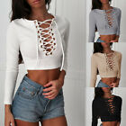 Women Sexy Lace Up Deep V Long Sleeve  Pullover Crop Tops Blouse Shirt T-Shirt