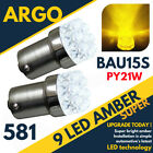 Bright Amber Yellow 9 Led 581 Py21w 1156 Turn Signal Indicator Bulbs Bau15s 12v