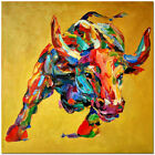 Hand Painted Colorful Impressionist Bull Oil Painting On Canvas
