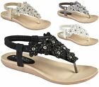 LADIES LOW WEDGE DIAMANTE FLOWER COMFORT ELASTIC SLINGBACK CASUAL SANDALS 3-8