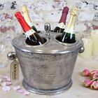 Abi Gamin Champagne Ice Bucket 4 Bottle Section with Lid Aluminium Vintage Wine