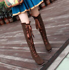 Womens Ladies Sweet Lolita Lace Up High Block Heeled Floral Over The Knee Boots