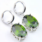 Mother's Day Gift Square Natural Olive Peridot Gems Silver Danlge Hook Earrings
