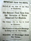 1861 Civil War headline display newspaper MISSISSIPPI SECEDES from the UNION