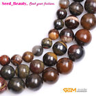 """Natural Brown Sunset Tiger Iron Stone Round Beads for Jewelry Making Design 15"""""""