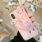 For iPhone X 8 7 Coupled with Slim Fit Pink Girly Silicone Case Cover Hand Strap Holder