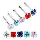 316L Surgical Steel Round Star 3mm CZ Cubic Zirconia Nose Ring Bar Piercing Stud