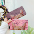 Cartoon cute animals cat ear phone back case cover for iphone 6 6s 7 8 plus X