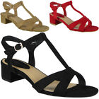Womens Ladies Party Sandals Suede Buckle T-Bar Strap Summer Mid Heel Shoes Size
