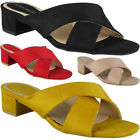 Womens Mid Heel Shoes Ladies Strappy Faux Suede Slip On New Summer Sandals Size