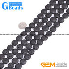 """Black Volcanic Lava Rock Gemstone Coin Beads Free Shipping 15""""12mm 14mm 16mm"""