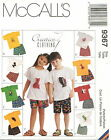 McCalls 9367 Childs Boys Girls T-Shirt Shorts & Animal Toy Sewing Pattern ~ 6-8