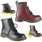 Womens Ladies Low Heel Army Work Biker Grip Sole Rain Ankle Boots Shoes Size