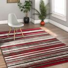 Riviera Striation Red Grey Modern Shabby Chic Area Rug