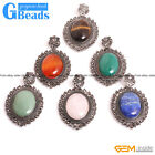 """Natural Oval Gemstone Pendant Leather Rope Long Necklace 18"""" Free Shipping"""