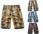 Men's Check Summer Cargo Shorts Pants Casual Trousers 6 Pockets