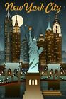 New York City by Lantern Press Art Print Vintage Travel Poster Statue of Liberty
