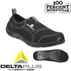 Delta Plus MIAMI Black Canvas Slip On Light Safety Shoes Trainers Steel Toe S1P