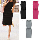 Women Casaual Round Neck Bodycon Slim Belt Skirt Long Pencil Dress Midi Dress AU