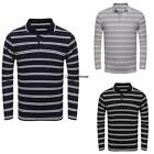 Men Casual Polo Shirt Long Sleeve Contrast Color Striped T Shirt ILOE