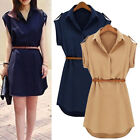 Women Sexy Summer V-neck Chiffon Belt Waist Bodycon Mini Dress Plain Midi Dress