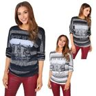 Women Ladies Soft Knit Striped Loose Baggy Casual Winter Long Jumper Sweater Top