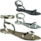 Womens Ladies Beach Flat Jelly Ankle Strap Summer Peeptoe Sandals Shoes Sizes
