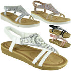 Womens Ladies Diamante Low Wedge Comfy Strap Summer Peeptoe Sandals Shoes Sizes
