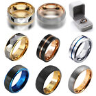 Mens Womens Couple Tungsten Carbide Gold Fashion Classic Band Rings Wedding Gift