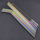 4 Pcs Portable Rainbow Reusable Stainless Steel Drinking Curved/Straight Straws